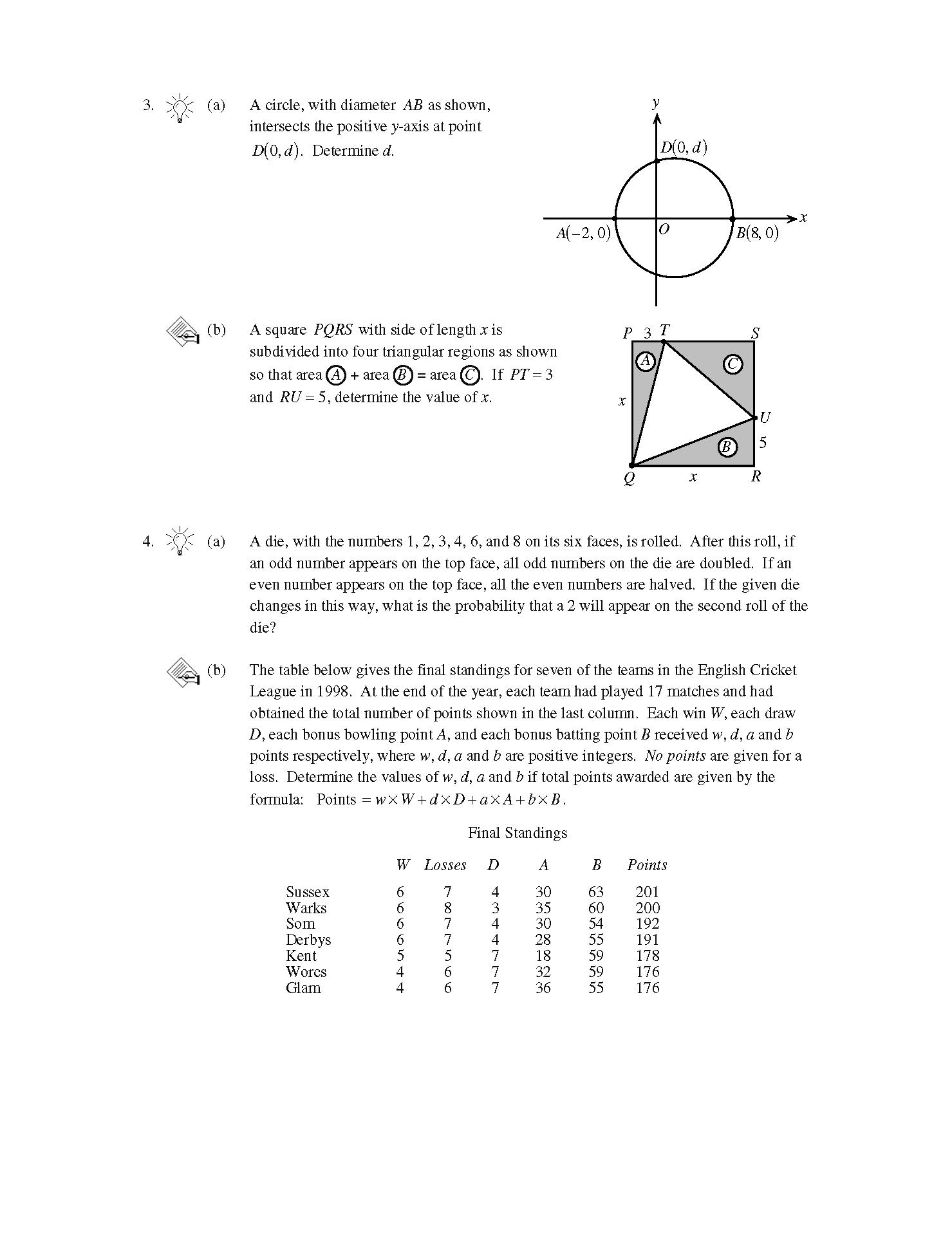 加拿大数学竞赛CMC-Eucli欧几里德数学竞赛2000年真题