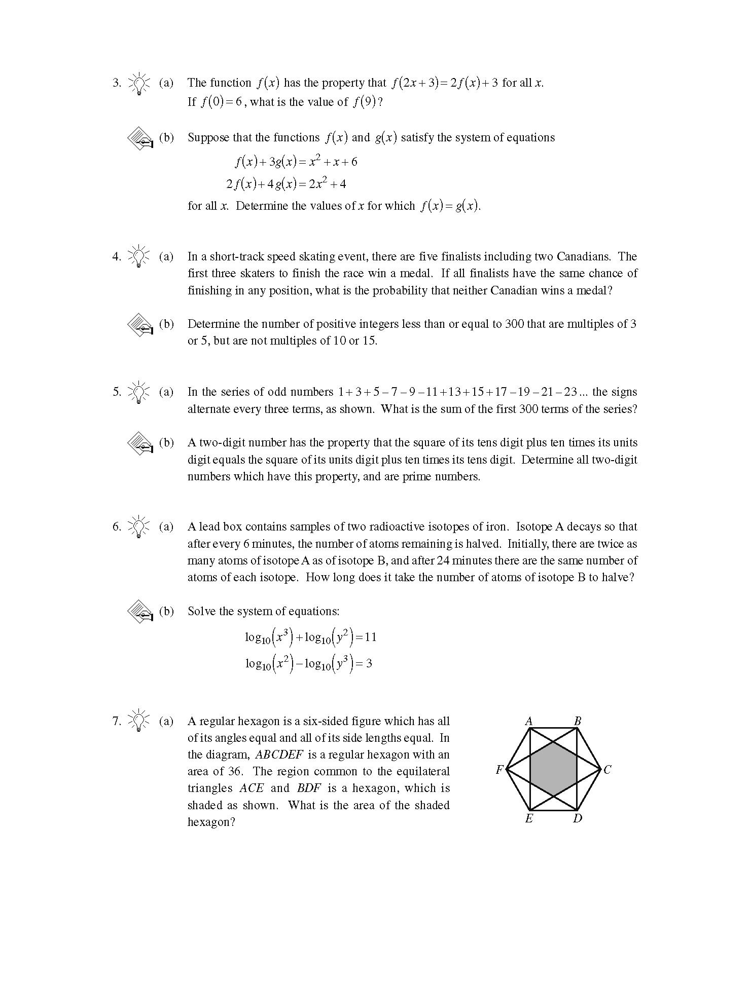 加拿大数学竞赛CMC-Euclid欧几里德数学竞赛2003年真题