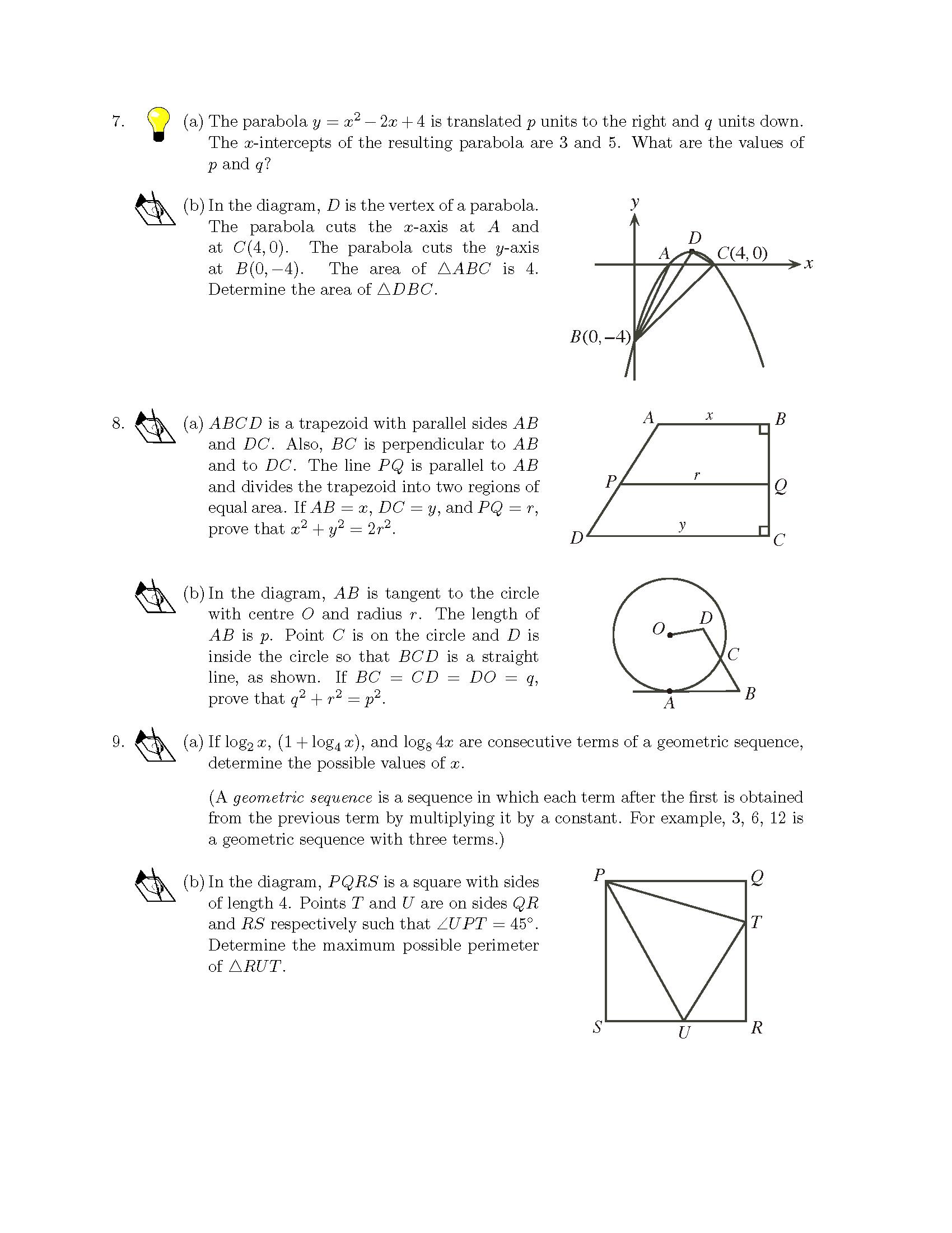 加拿大数学竞赛CMC-Euclid欧几里德数学竞赛2009年真题