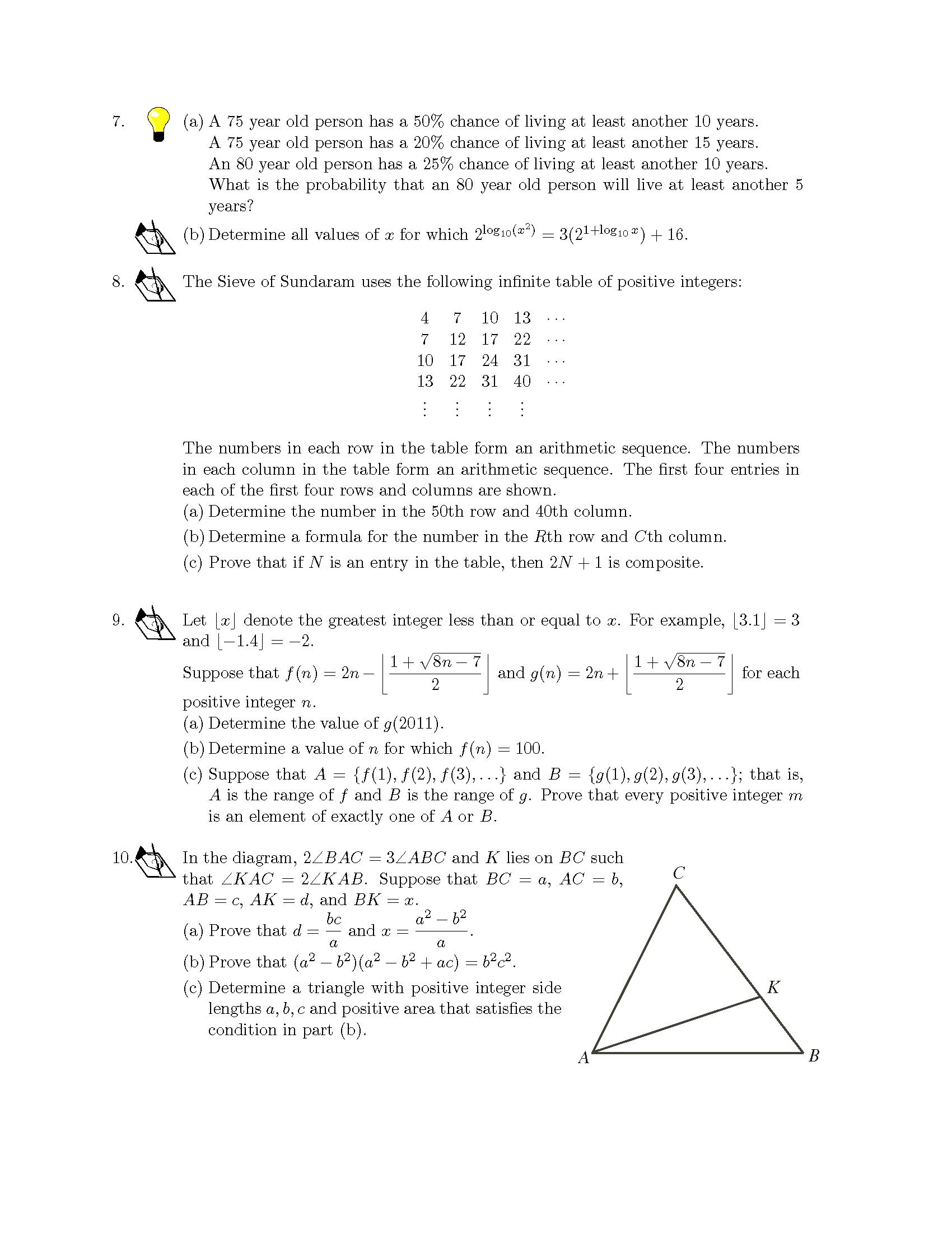 加拿大数学竞赛CMC-Euclid欧几里德数学竞赛2011年真题