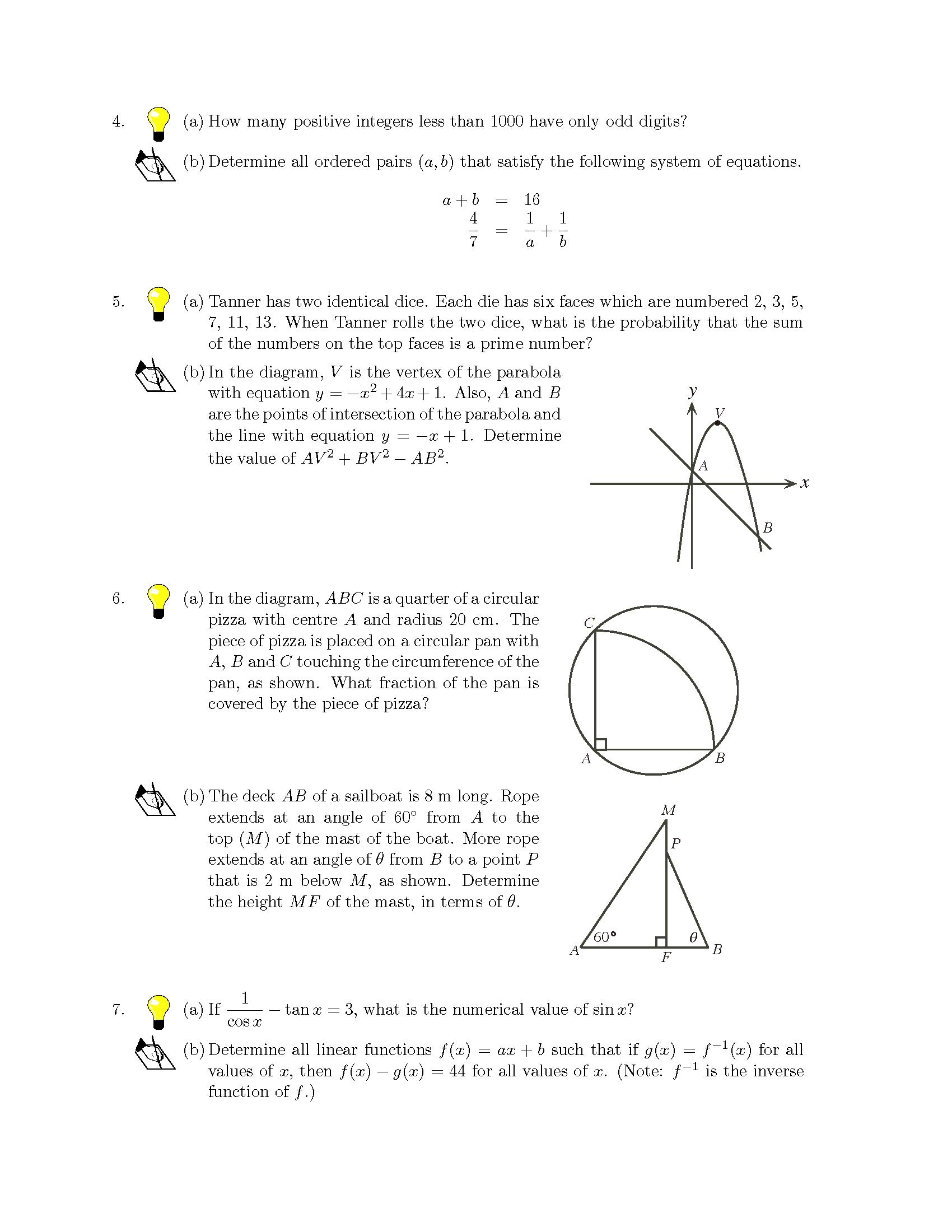 加拿大数学竞赛CMC-Euclid欧几里德数学竞赛2013年真题