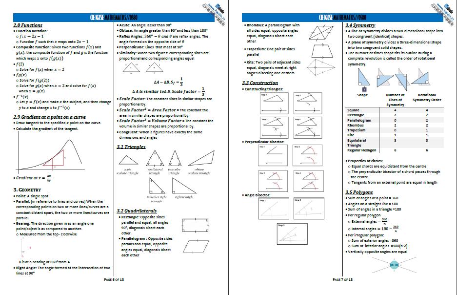 翰林学院CIE IGCSE数学独家Notes
