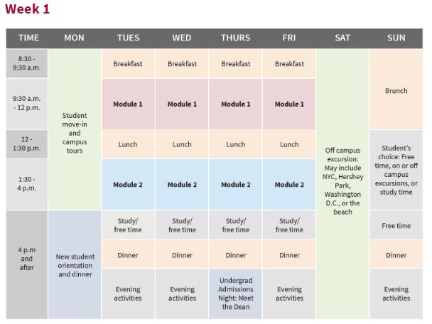 penn Summer Pre Program Schedule宾大暑期预备项目时间表