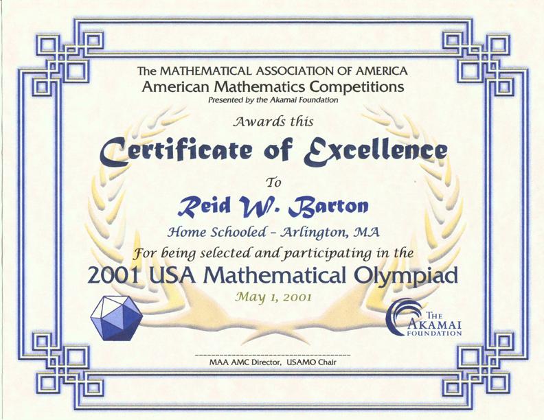 AMC/AIME美国数学竞赛荣誉与奖章