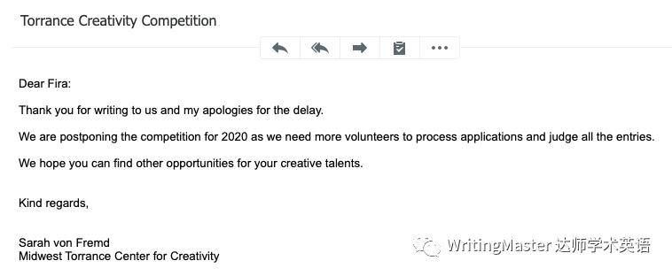 2020年Torrance创意写作竞赛推迟了