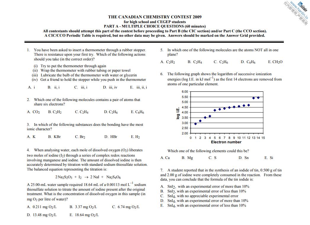 高含金量化学竞赛即将开始比赛啦!这些真题资料助你冲刺金奖!