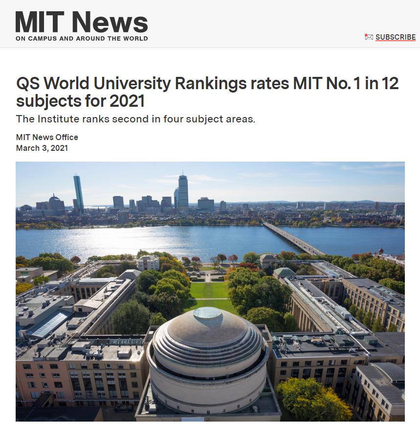 最新!2021QS世界大学学科排名发布!哈佛MIT实力霸榜!