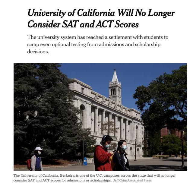 """加州大学妥协!本科录取""""放弃""""SAT/ACT成绩,国际生何去何从?"""