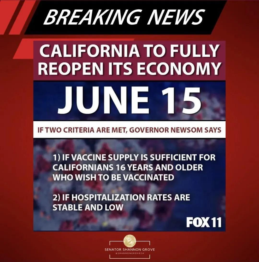 重大进展!加州计划6月15日全面重启,并解除口罩令!