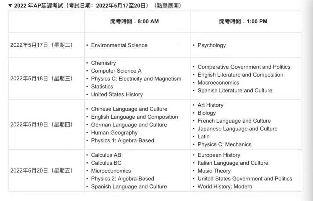2022年AP香港地区开放报名